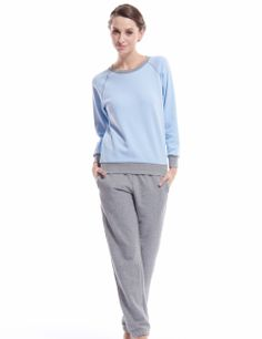 Aliexpress.com   Buy Women pajamas sets100% cotton2 kinds of solid colour  round neck 5d0ab6fc6