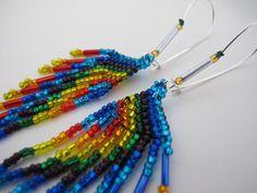 Beaded Rainbow Fringe Earrings -  Lovingly pinned by The Rainbow Farmer https://www.etsy.com/shop/TheRainbowFarmer