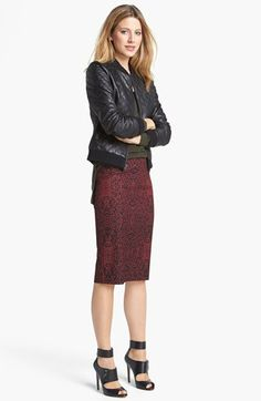 """Halogen® Bomber Jacket & Pencil Skirt  available at #Nordstrom>  What a great look.  I bought the skirt in blue and it is HOTT!!!!  Love it with the """"Nyambi"""" pumps by Enzo!!"""