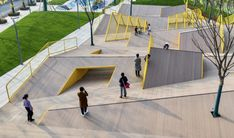 The Folds | Atelier Scale - Winner of the Merit Awards in the 2020 WLA Awards in the Built Small category - #landscapearchitecture #china #play #playground #meritaward #yellow #terrain #folded #folds #unconventional Landscape And Urbanism, Landscape Architecture Design, Urban Architecture, Space Architecture, Urban Landscape, Architecture Diagrams, Architecture Portfolio, Landscape Designs, Playground Design