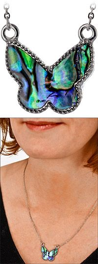Flash of Abalone Butterfly Necklace at The Veterans Site