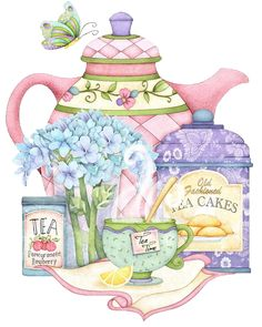 I love the beautiful soft colors of Joy Hall's artwork. I love the beautiful soft colors of Joy Hall's artwork. Tee Kunst, Etiquette Vintage, Diy And Crafts, Paper Crafts, Teapots And Cups, Tea Art, Decoupage Paper, My Cup Of Tea, Kirigami