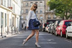 Blue Skirt ~ Paris Fashion Week, Day 5 via @WhoWhatWear