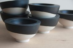 White ceramic bowl with black mat glaze.Great for serving appetizers and desserts. Urban and modern look. on Etsy, $37.53 AUD