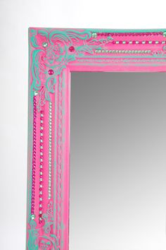 Large pink & turquoise decorated renaissance wall mirror.. $320.00, via Etsy.