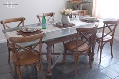 DIY zinc dining room table tutorial.... I am really liking the zink table top idea