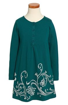 Free shipping and returns on Tea Collection 'Fileteado' Long Sleeve Henley Dress (Toddler Girls, Little Girls & Big Girls) at Nordstrom.com. Silverymetallic graphics inspired by traditional fileteadoart highlights the skirt of a classically charming henley dress.