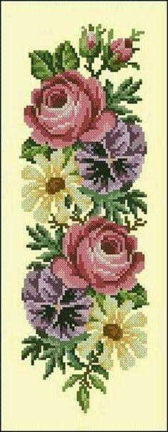 "Photo from album ""Ретро-цветы"" on Yandex. Easy Cross Stitch Patterns, Cross Stitch Borders, Cross Stitch Rose, Simple Cross Stitch, Bead Loom Patterns, Embroidery Patterns Free, Cross Stitch Flowers, Cross Stitch Designs, Cross Stitching"
