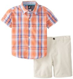 Nautica Baby-Boys Infant Short Sleeve Woven and Short 2 Piece Set, Hibiscus, 24 Months Nautica