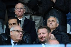 Manchester United manager Jose Mourinho watches from the stands along with Manchester United legend Sir Bobby Charlton during the Premier League. Manchester Unaited, Manchester United Legends, Manchester United Football, Bobby Charlton, Swansea, Sport Man, Football Team, Premier League, Religion