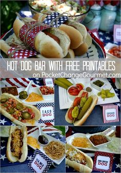 Hot Dog Bar with FREE Printables :: Perfect for your Summer Cook outs, 4th of July, Labor Day or Memorial Day :: Recipes + Printables on PocketChangeGourmet.com