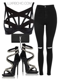 """""""New collection"""" by shopluxrb on Polyvore featuring Malaya, Topshop, Yves Saint Laurent and Giuseppe Zanotti"""