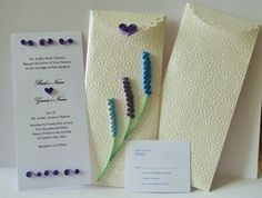 Bespoke Wedding invitation, special envelope, RSVP card, handmade item, quilling paper, persionalized, customized, purple and blue lavender by Hiquilling on Etsy