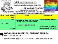 Lar Maria de Nazaré Convida todos para o seu 64o. Aniversário - Bras de Pina -RJ - http://www.agendaespiritabrasil.com.br/2015/09/02/lar-maria-de-nazare-convida-todos-para-o-seu-64o-aniversario-bras-de-pina-rj/