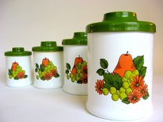 Vintage Canister Set of 4 ATAPCO Avocado Green & White Nesting Containers Floral Pears 1970s on Etsy, $18.00