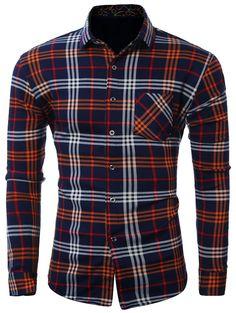 $18.74  Plus Size Pocket Turn-Down Collar Long Sleeve Shirt