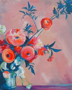 """""""Peaches with Pink"""" by #Carrie Buller (available here: carriebuller.etsy.com)"""