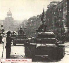 German Panzer tanks parade in Wenceslas Square, Prague