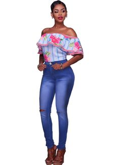 Kenya Medium Denim Cut-Out Knees Jeans_Butt Lifting Skinny Jeans_Women Jeans_Sexy Lingeire | Cheap Plus Size Lingerie At Wholesale Price | Feelovely.com