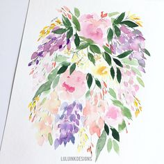 Watercolors, My Etsy Shop, Ink, Unique Jewelry, Handmade Gifts, Floral, Vintage, Design, Kid Craft Gifts