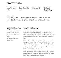 Rhodes Rolls, Pretzel Rolls, Dinner Places, After School Snacks, Baking Sheet