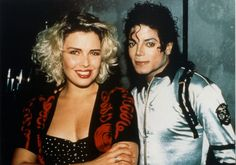 MJ and singer Kim Wilde backstage during the Bad World Tour at Wembley Stadium, London July 14 1988