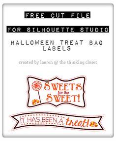 Halloween Treat Bag Labels - Free Cut File for Silhouette Studio via…