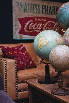 Vintage living room with globes