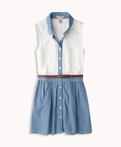Chambray & Lace Shirt Dress | FOREVER21 #Juniors #Summer #SunDress #Denim
