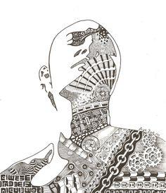 Visage façon zentangle encre de chine : Dessins par bbaya