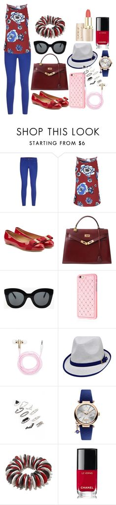 """""""Untitled #285"""" by maha-951 ❤ liked on Polyvore featuring Comptoir Des Cotonniers, Glamorous, Salvatore Ferragamo, Hermès, CÉLINE, Forever 21, Topshop, Vivienne Westwood and Chanel"""