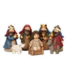 This Burlap Nativity Figurine Set is perfect! #zulilyfinds