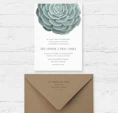 Succulent Wedding Invitations by oakandorchid on Etsy, $8.75