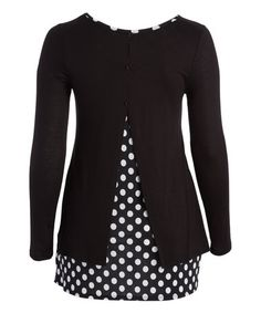 Look at this #zulilyfind! Black & White Polka Dot Split-Back Tunic - Plus #zulilyfinds
