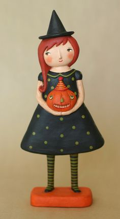 Witch with Pumpkin OOAK Art Doll.
