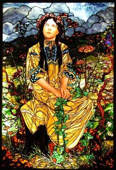"Art: Glas- en Tegelkunst Allerlei ~Glas in Lood-Tiffany *Stained Glass: ""Hippy Chick"" van Bogenrief Studios naar Alfons Mucha~"
