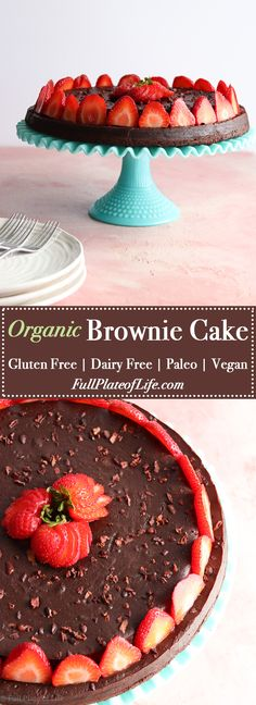 Super versatile! This Organic Brownie Cake has a beautiful presentation and is very easy to make. In addition, this brownie recipe can be made in just one layer for a simple treat at home. Paleo, Traditional Foods, Vegan, Gluten Free, Dairy Free, Dessert, Healthy Treats, Snacks.