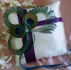 Purple & teal, ring pillow.