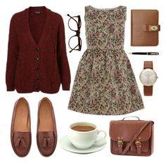 """""""Tapestry"""" by hanaglatison ❤ liked on Polyvore featuring H&M, Pelikan, Cutler and Gross, Mulberry, Junghans, loafers, burgundy, tassel, knit and bag"""