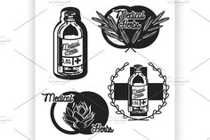 medical plants herbs emblems by Netkoff on @creativemarket