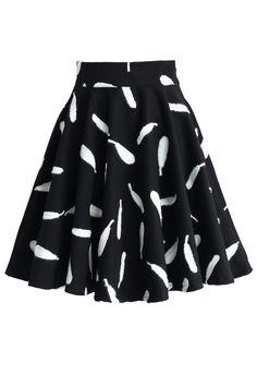 Feather Embossed Wool Blend Skater Skirt