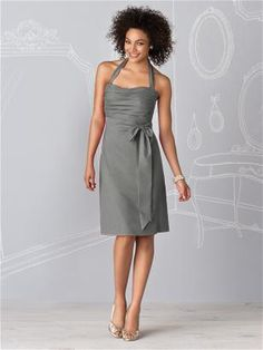 Too light? Charcoal Gray Bridesmaid Dress by Dessy