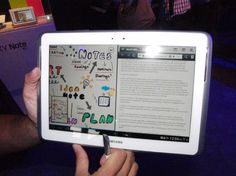 Samsung Galaxy Note 10.1 tablet lets you run two apps at the same time on the same screen. Has 10.1-inch display, quad-core 1.4GHz processor and 2GB RAM. Also comes with the S-Pen, a unique stylus that detects 1,000 levels of pen pressure, thus allowing you to press hard for a thick line and soft for a thin one. Preloaded with Adobe Photoshop Touch and B/N Nook ebook app. $549.99 with 32GB of storage; $499.99 for 16GB model. (Photo © Copyright 2012 Robert S. Anthony, Stadium Circle Features)