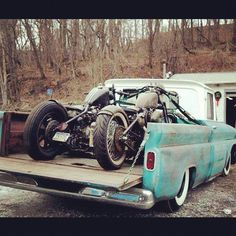 Lowered Chevy Truck - Bobber Motorcycles - Custom Bobbers.... this is me in a nut shell!!