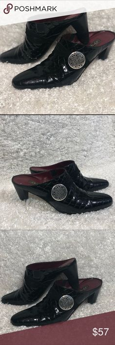 dd51d82ed0fd Black Brighton Mules EUC Brighton mules in black patent leather with suede  band across the front