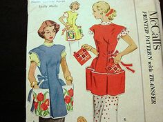 Womens 1950s Large Pocket Full Apron by PatternsFromThePast