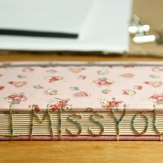"""Never too late to say """"I MISS YOU"""" to your beloved one! Make it memorable by sewing the words with Cotic-stitch along book spine!"""