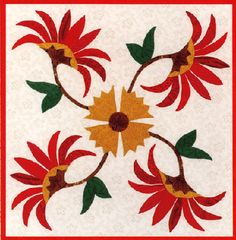 Wild Poinsettia a Downoadable Pattern from the Thru Grandmother's Window Block of the Month