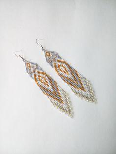 Comanche earrings, Native American fringe earrings, clip on fringe earrings, Ethnic gift, Delica earrings, gift for Native, beaded earrings by LindenHandCrafts on Etsy