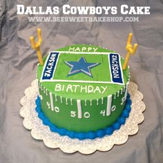 Football cake, Dallas cowboys cake from www.BeeSweetBakeshop.com